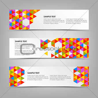 Abstract horizontal banners with colored triangles template