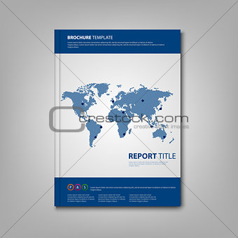 Brochures book or flyer with blue abstract world map