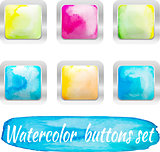 vector watercolor colorful buttons