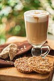coffee latte cup with cookies
