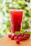 fruit drink with raspberries