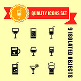 quality glasses icon set