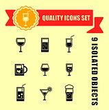 quality glasses icon set
