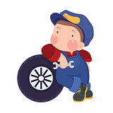 Auto Mechanic Boy Leaning Against a Car's Tire