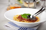 plate with spaghetti bolognese and basil leaf