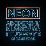 Vector blue neon lamp letters font show vegas light sign theather
