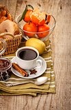 Good morning breakfast with coffee and fruits
