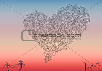 Flock of birds heart, vector