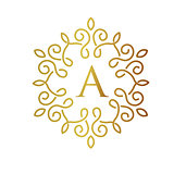 letter A with elegant gold frame vector design