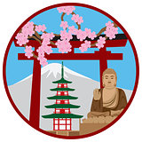 Symbols of Japan in Circle Illustration