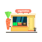 Vegetables Shop Front. Vector Illustration