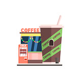 Coffee Shop Front in Christmas. Vector Illustration