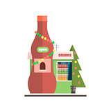 Drinks Shop Front in Christmas. Vector Illustration