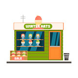 Winter Hats Store Front Vector Illustration