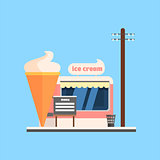 Ice Cream Shop Front. Vector Illustration