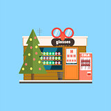 Glasses Shop Front in Christmas. Vector Illustration