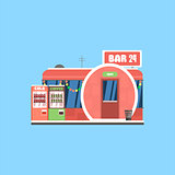 Bar Front in Christmas. Vector Illustration