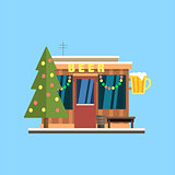 Beer Shop Front in Christmas. Vector Illustration