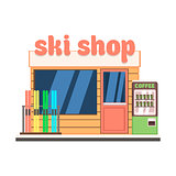 Ski Shop Front. Vector Illustration