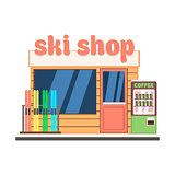 Ski Shop Front. Vector Illustration