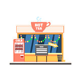 Hot Tea Shop Front in Christmas. Vector Illustration