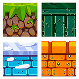 Textures for Platformers Icons Vector Set with Soil, Grass and Bricks