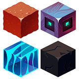Textures for Platformers Icons Isometric Vector Set