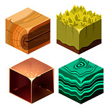 Textures for Platformers Icons Cubical Vector Set