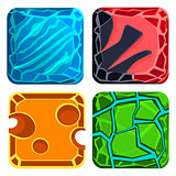 Different Materials and Textures for Game. Gems Vector Set