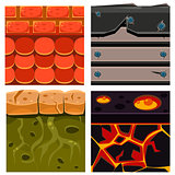 Textures for Platformers Icons Vector Set with Boards, Scale and Bricks