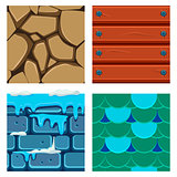 Textures for Platformers Icons Vector Set of Wood, Scale and Bricks