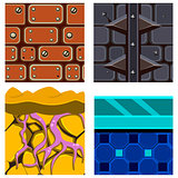 Textures for Platformers Icons Vector Set with Roots, Ice and Bricks