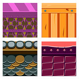 Textures for Platformers Icons Vector Set with Wood Boards and Scale