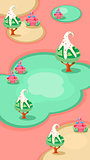 Vertical Landscape Illustration, Candy Islands with Trees