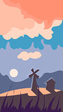 Vertical Landscape Illustration, Windmill at Dawn