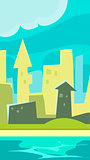 Green City Vertical Landscape Illustration, Flat style