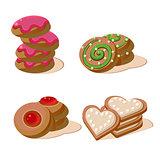 Tasty cookies vector illustration set