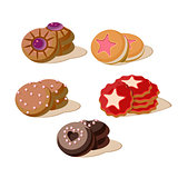 Tasty cookies vector illustration set