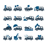 Car Insurance Vector Icons Set