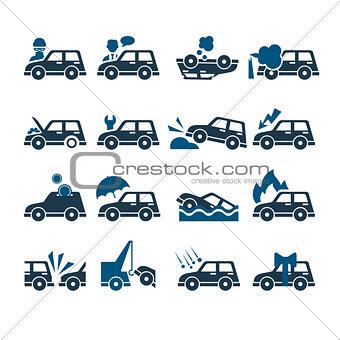 Car Insurance Vector Icons Set