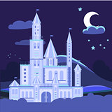 Night landscape illustration with castle Vector flat