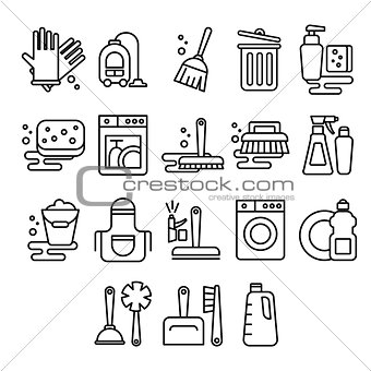Cleaning, laundry, washing, broom, cleanliness, washing windows, freshness, bucket vector icons in flat