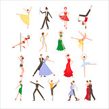 Dance festival, different dance styles, flat icon set isolated vector