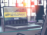 App Development Concept on Laptop Screen.