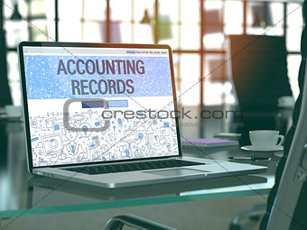 Accounting Records on Laptop in Modern Workplace Background.