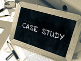 Hand Drawn Case Study Concept on Small Chalkboard.