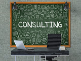 Chalkboard on the Office Wall with Consulting Concept.