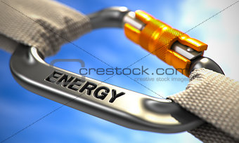 Chrome Carabiner Hook with Text Energy.