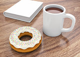Donut with cup and book