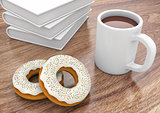 Donuts with cup and books